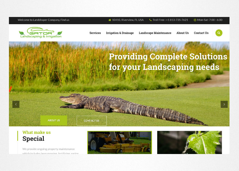 Gator Landscape & Irrigation Website Screenshot